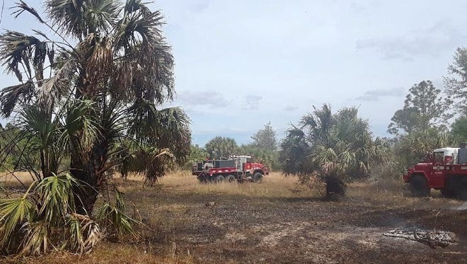 Firefighters converge on a brush fire Saturday inthe Deer Run neighborhood in southern Palm Bay.