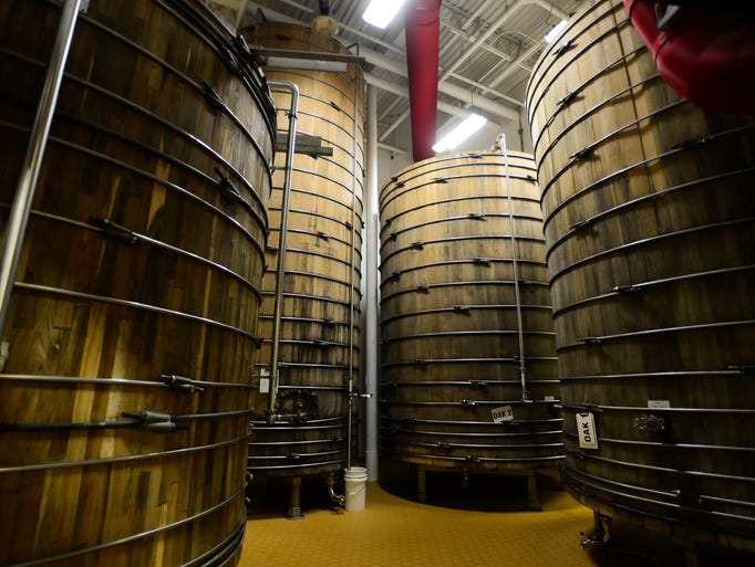 Dogfish Head's wooden fermentation tanks located at