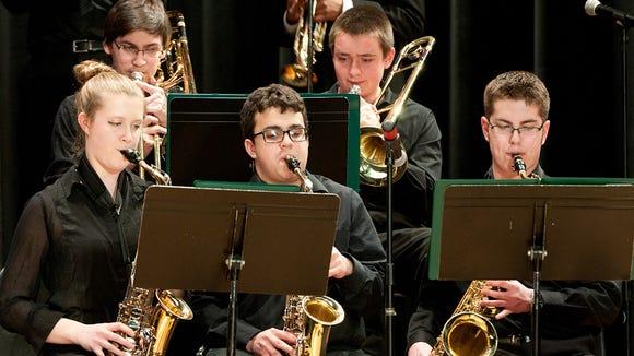 Kira Ashton, Eric Albano and Doug Whelan play with the Webster Thomas Jazz Band.