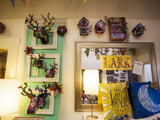 Wall decorations on display at Lark Gift Shop at 40 Baltimore St., in downtown Gettysburg.