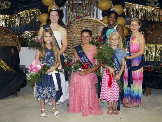 Franklin County Fair Court: back row, Queen Alternate Caroline Yarish, left, and Princes Alternate Meagan Markley. Front row, Little Miss Alternate Jossalyn Eckert, Queen Kayla Hartung, Little Miss Morgan Shatzer and Princess Sophia Klein.