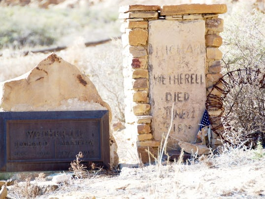 The gravestone of Richard Wetherill, a Colorado rancher who was the first to excavate Grand Gulch, Mesa Verde and Chaco Canyon. Wetherill was murdered at Chaco Canyon.