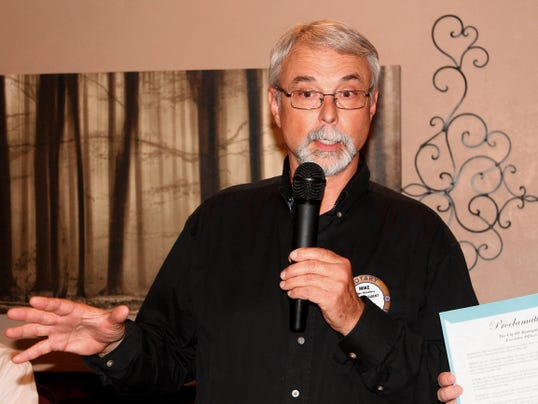 New Mexico Museum of Space History Education Specialist Michael Shinabery says a few words to the Rotary Club of Alamogordo where he is a member after Mayor Susie Galea read a proclamation declaring Sept. 9 as Michael Shinabery Day in honor of becoming the first New Mexico educator along with Jeffrey Killebrew to take flight on NASA's SOFIA Sept. 15-17.