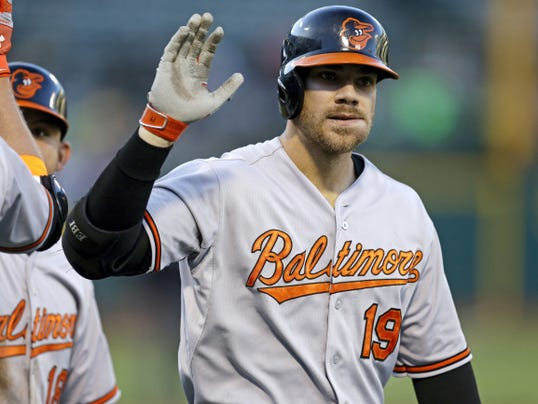 Baltimore's Chris Davis celebrates after hitting a three-run home run off Oakland Athletics pitcher Jesse Chavez in the first inning on Monday in Oakland, California.