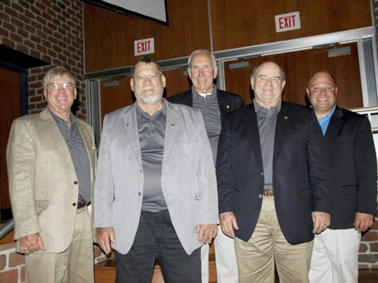 Adams Electric elects three to board of directors: Board President Jay Grove, left, and CEO/General Manager Steve Rasmussen, right, congratulate the three directors who were elected to new terms at the 2015 Adams Electric annual meeting. They include, from left, Bill Myers of Glenville, Ray Schwartz of Fairfield and Gene Herritt of Shippensburg. They were each elected to new three-year terms on the Adams Electric Cooperative board of directors during an election process that ended during the cooperative's 2015 annual meeting, held June 27 at the Gettysburg Area High School. The board held a reorganizational meeting on June 29 during which Jay Grove of Shippensburg was re-elected as board president, Glenn Bange of Hanover was re-elected board vice president, Tom Harbaugh of East Berlin was re-elected board secretary, and Tom Knaub of Wellsville was re-elected as board treasurer.