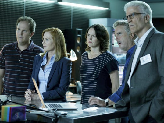 "From left, David Berman, from left, Marg Helgenberger, Jorja Fox, William Petersen and Ted Danson appear in a scene from the two-hour series finale of ""CSI: Crime Scene Investigation,"" airing on Sunday at 9 p.m."