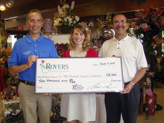 Royer's Flowers & Gifts has donated 2,000 to the Pennsylvania Breast Cancer Coalition. Pictured are, from left, Barry Spengler, vice president of operations, Royer's Flowers; Jennifer Pensinger, executive director, Pennsylvania Breast Cancer Coalition; Tom Royer, senior vice president, Royer's Flowers.