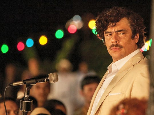 "Surrounded by family, worshipping followers and more bodyguards than you can shake a stick at (if that's your idea of a good time) Pablo ""Escobar"" (Benicio Del Toro) still felt the need to watch his back."