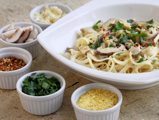 Vegan Linguine with Shiitake Cream Sauce is hearty, meaty alternative to the traditional dish of pasta with clam sauce.