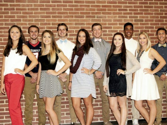 The 2015 New Oxford High School Homecoming Court is shown. Pictured in the front row, from left, are: Danielle Sterner, Bailey Deatrick, Rachel Groden, McKayla Wagaman, and Lexie Kenworthy. Pictured in the back row, from left, are: Corban Czap, Jordan Pritchard, Shane Rolle, Trevon Brown, and Noah Baxter.