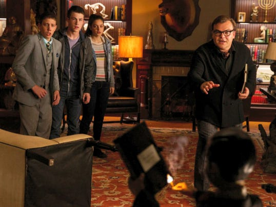 "Ryan Lee, Dylan Minnette, Odeya Rush and Jack Black in ""Goosebumps."""
