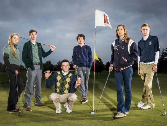 GameTimePA.com's first-team golf all-stars are, from left: York Catholic's Lauren Parrini, York Catholic's Joe Parrini, York Catholic's Nick Geiman, Central York's Gus Minkin, Spring Grove's Tori Ross and West York's Axel Hartman. Not pictured is Eastern York's Kevin Crumbling.
