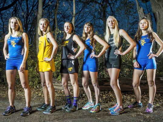 GameTimePA.com's girls' cross country first-team all-stars are, from left: Kennard-Dale's Kayla White, Eastern York's Maddie McLain, Delone Catholic's Kate Mowrey, Kennard-Dale's Caitlin Salomon, York Suburban's Emma Leik and Kennard-Dale's Maddie Ferner.