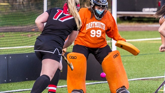 Lily Gioiosa makes the kick save in Dartmouth's 11-1 victory over Brockton.