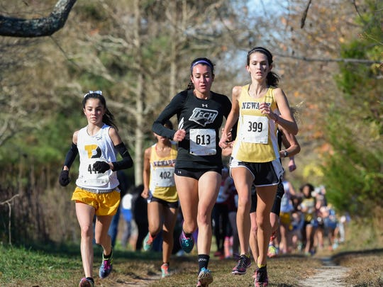 Newark's Rachel Beston leads the Division I DIAA Cross Country State Championships at Killens Pond State Park in Felton.