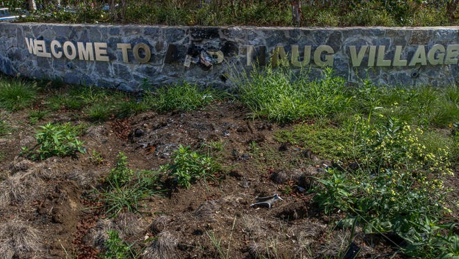 "A ""Welcome to Apponaug"" sign remains damaged from a crash that occurred weeks ago."