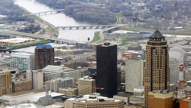 An aerial view of downtown facing south March 30, 2016 in Des Moines.