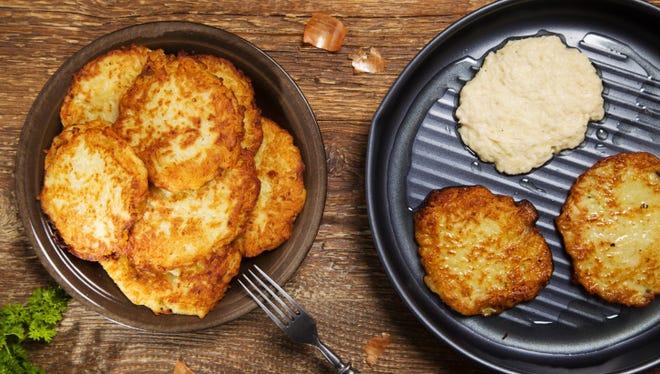 Homemade potato latkes