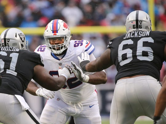 Adolphous Washington, shown in a game against the Raiders last year, probably needs to step up his game in order to earn a roster spot with the Bills.