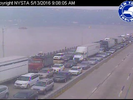 MID-SPAN, southbound: The Tappan Zee Bridge is shut