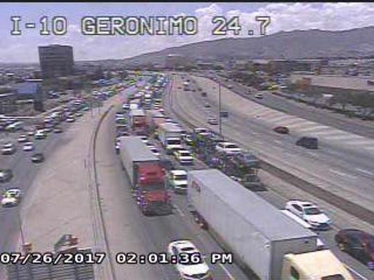 Traffic on Interstate 10 in both directions was at a standstill near Hawkins Boulevard as police investigated.