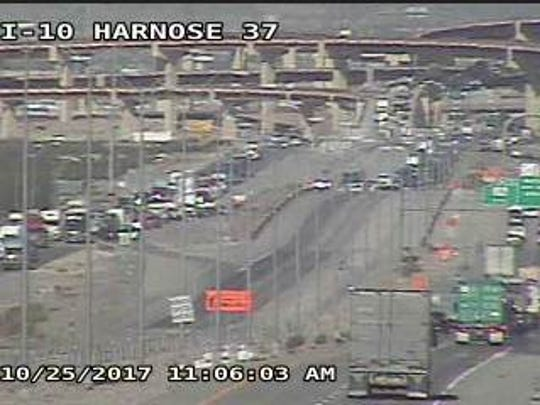 Texas Department of Transportation cameras show traffic being forced to exit Interstate 10 East near the Eastlake Boulevard exit Wednesday morning.