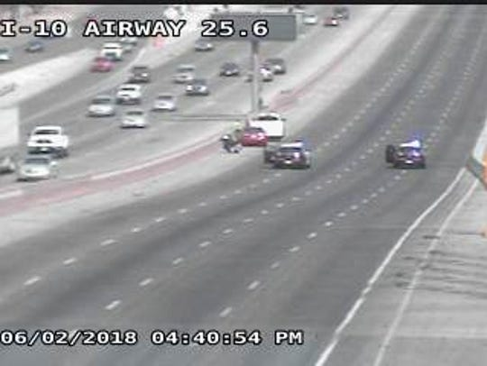 Police have blocked off I-10 East at Airway for injury