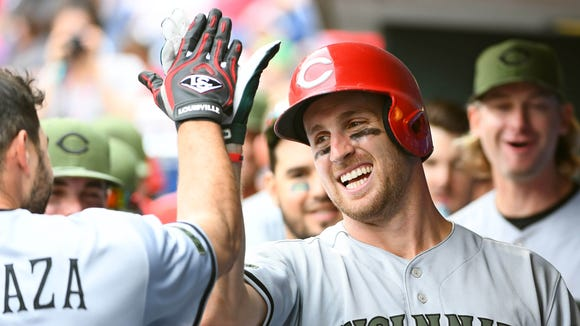 May 28, 2017; Philadelphia, PA, USA; Cincinnati Reds right fielder Patrick Kivlehan (3) celebrates with teammates in the dugout after hitting his second home run of the game during the ninth inning against the Philadelphia Phillies at Citizens Bank Park. The Reds defeated the Phillies, 8-4. Mandatory Credit: Eric Hartline-USA TODAY Sports