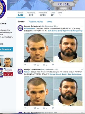 Georgia corrections tweeted these photos of escaped inmates Donnie Russell Rowe and Ricky Dubose.