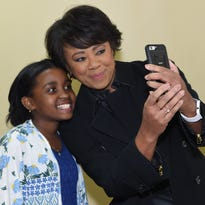 WNBC meteorologist Janice Huff visits local sixth-grader