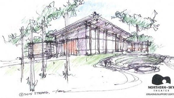 An artist's sketch of the proposed rehearsal and operations center for Northern Sky Theater.