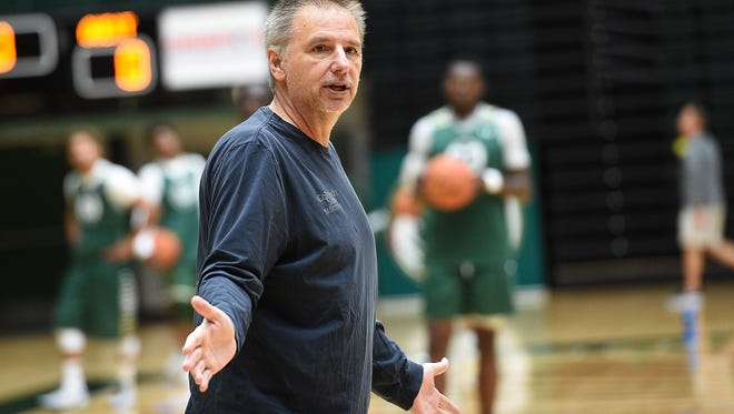 CSU men's basketball coach Larry Eustachy gives instructions to his team during a practice Nov. 1 at Moby Arena. The Rams kick off the 2016-17 season with an exhibition game at 7 p.m. Tuesday against Regis.