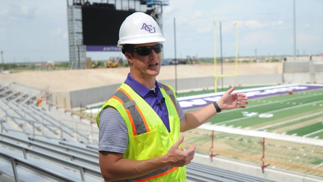 ACU director of athletics Lee De Leon talks to the media during a tour of the school's new on-campus football stadium on Wednesday, May 31, 2017. Wildcat Stadium is scheduled to open Sept. 16 when ACU plays Houston Baptist in its home opener.
