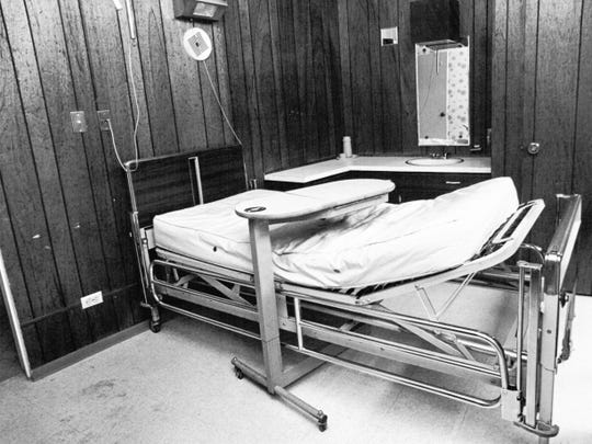 The hospital bed at a Juarez clinic where Steve McQueen died in 1980 after surgery to remove cancerous tumors.