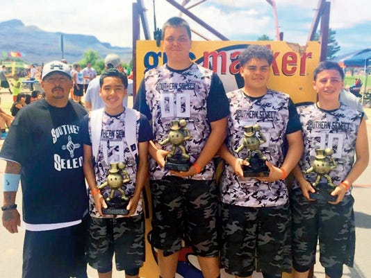 Courtesy Photo   Southern Select teamed up with No Regrets to create a team that went 5-0 at the Gus Macker in Alamogordo. Members include, from left, coach Ernesto Villegas, Chico Villegas, Damian Guck, Demetri Maldonado and Cristian Parra.