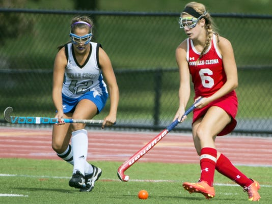 Cedar Crest's Lexie Eberly and Annville-Cleona's Tori Malloy battle for possession during the championship game of the Falcon Fall Classic on Saturday. Cedar Crest was victorious by a 5-1 score.