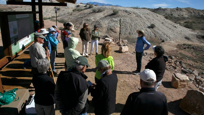 Elaine York, at right,  the West Desert Regional Director for the Nature Conservancy, leads a tour Saturday, April 23, 2016 of the Nature Conservancy's new White Dome Nature Preserve, one of just five places on earth where the endangered dwarf bear poppy, at left, grows. The preserve is open to the public and features several miles of hiking trails where visitors can see the endangered plant.