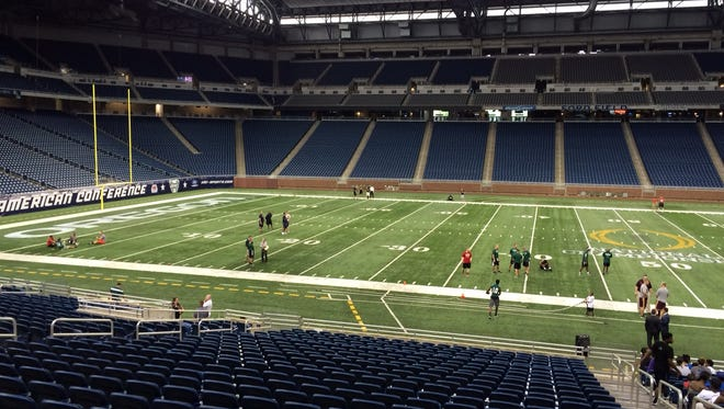 Ford Field, painted for the College Football Playoff committee.