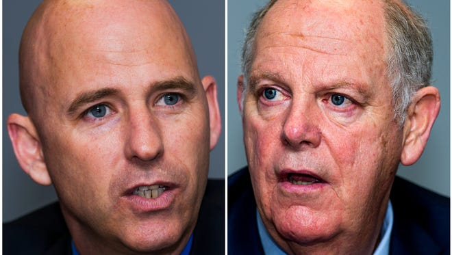 Paul Babeu (left) and Tom O'Halleran are competing for Arizona's Congressional District 1 seat.