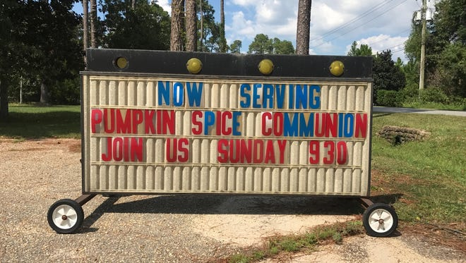 """St. John's Episcopal Church in Warrington recently changed its outdoor sign to say, """"Now servingpumpkin spice Communion."""""""