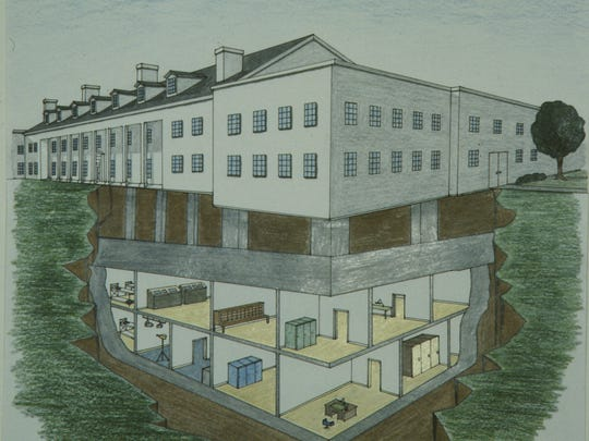 A cross-section of the Greenbrier hotel showing the now-declassified underground bunker.