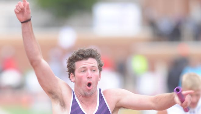 Wylie's Zack Smith celebrates after finishing second behind Big Spring in the 400 relay. Smith, Hayden Keidl, Cody Calhoun and Cameron Hannah ran 43.43 at the Region I-4A meet Saturday, April 29, 2017 at Lowrey Field in Lubbock.