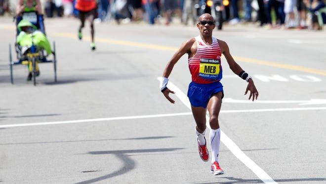 Meb Keflezighi during the 2014 Boston Marathon.
