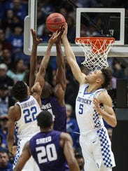 Kentucky's Kevin Knox had 13 points and this block