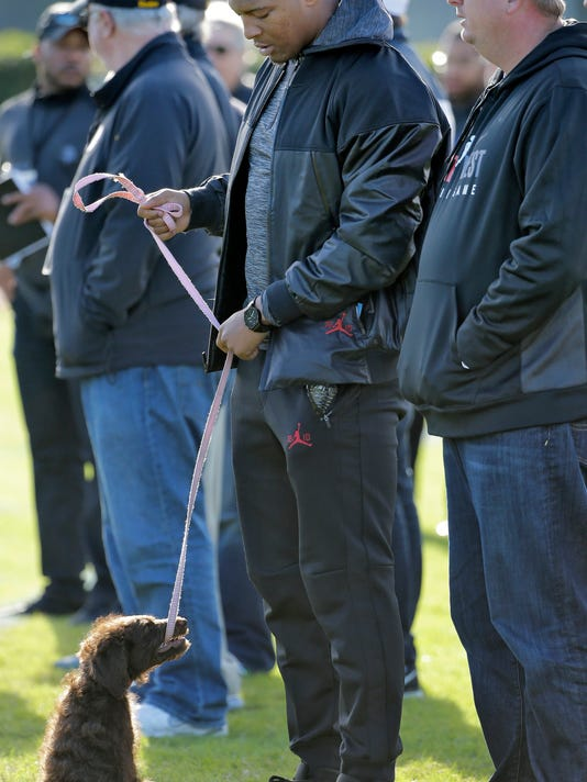 Tampa Bay Buccaneers quarterback Jameis Winston plays with his puppy while watching practice for the East West Shrine college football game Wednesday, Jan. 20, 2016, in St. Petersburg, Fla. The all-star game kicks off Saturday afternoon at Tropicana Field. (AP Photo/Chris O'Meara)