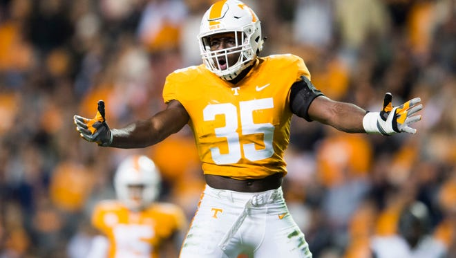 Tennessee linebacker Daniel Bituli (35) reacts to a play during a game between Tennessee and Vanderbilt at Neyland Stadium in Knoxville, Tenn., on Saturday Nov. 25, 2017.