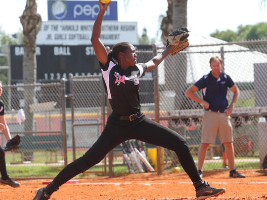 Dee Bent, of District 9, delivers a pitch during a state championship game against DeFuniak, at Sam Fleishman Sports Complex on Sunday.
