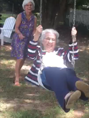 Carolyn Carter swinging at nearly 91 years old