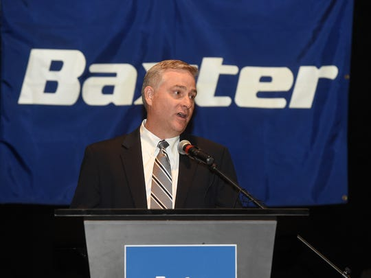 Tony Johnson of Baxter International speaks Thursday, Oct. 15, 2015, at ASUMH. Johnson announced an expansion at the company's Mountain Home plant would mean 225 new jobs.