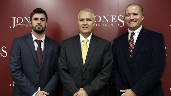 The new JCJC head coaching staff, from left, Brendan Connolly, soccer, Steven Buckley, football, and Chris Kirtland, baseball, after a press conference at Jones County Junior College Wednesday, Dec. 2.